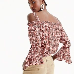 New J. Crew Red Heart Silk Cold Shoulder Blouse